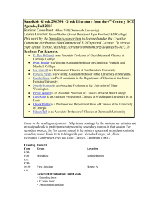 Course Planning Seminar Agenda - The Center for Hellenic Studies