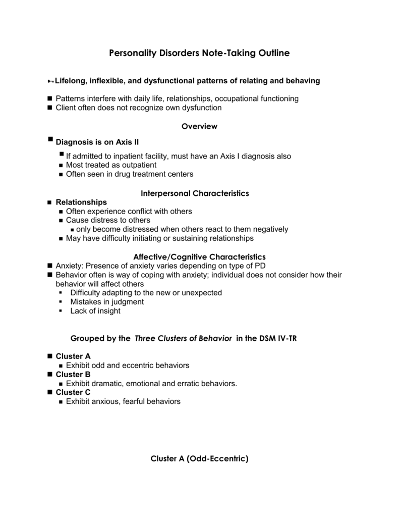 Personality Disorders Note-Taking Outline
