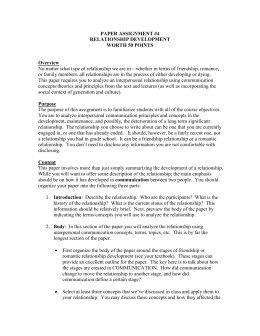 Relationship Development Paper