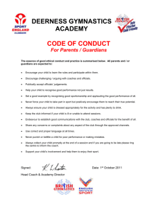 Code of conduct for Parents