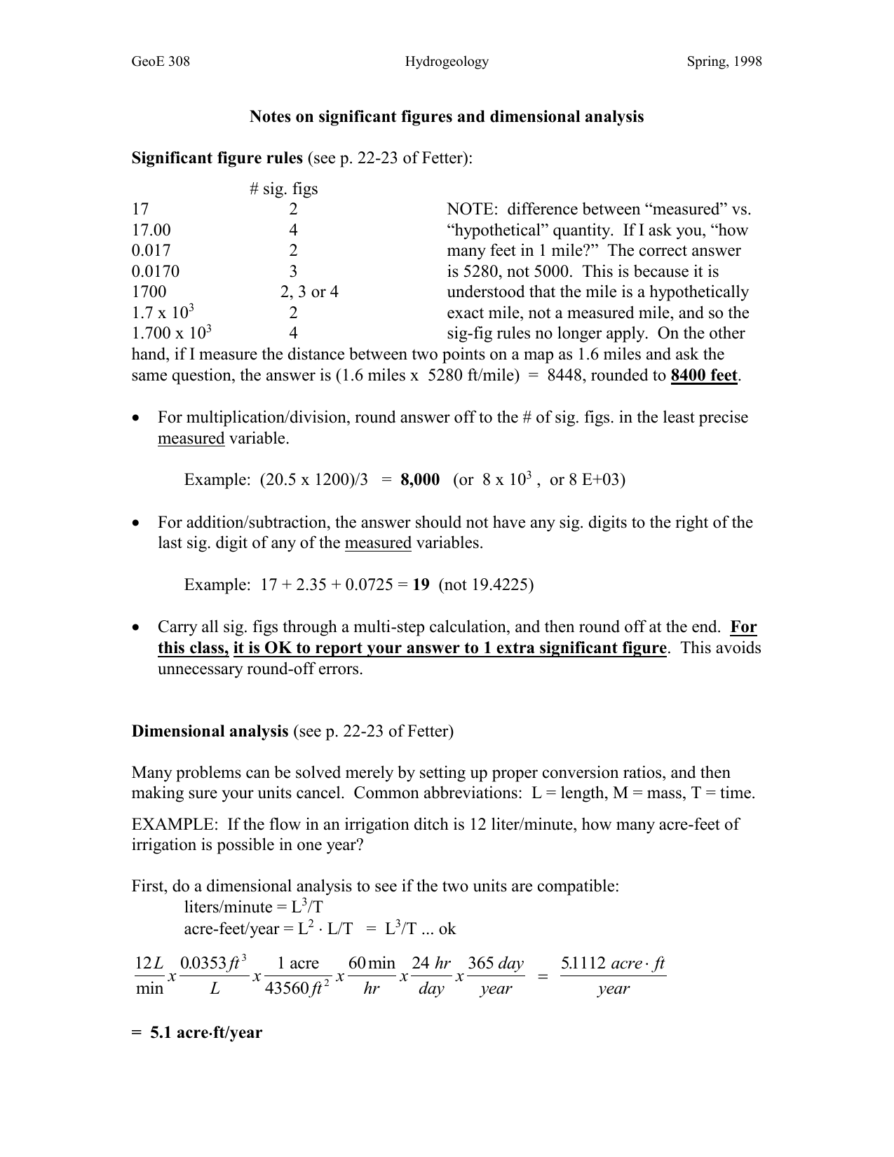 Notes on sig figs and dimensional analysis