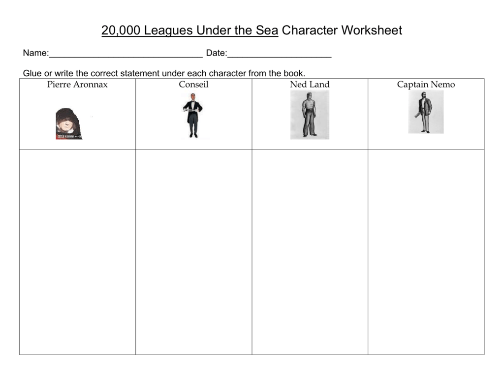 20,000 Leagues Under the Sea Character Worksheet