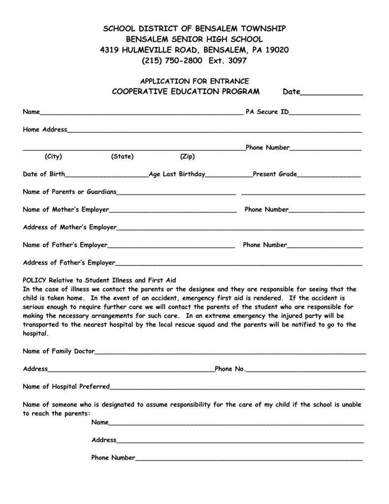 CO-OP Education Application - Bensalem Township School District