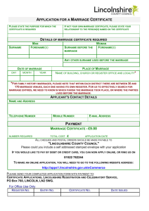 application for a marriage certificate