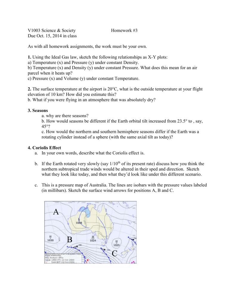 V1003HW32014 Earth and Environmental Sciences – Coriolis Effect Worksheet