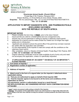 Application to import Pharmaceuticals / Diagnostic Kits / Biological