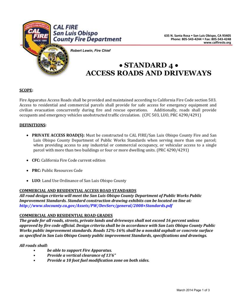 Access Roads & Driveways - Cal Fire/San Luis Obispo County Fire