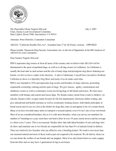 Letter to CA Legislators - Pensacola Dog Fanciers Association