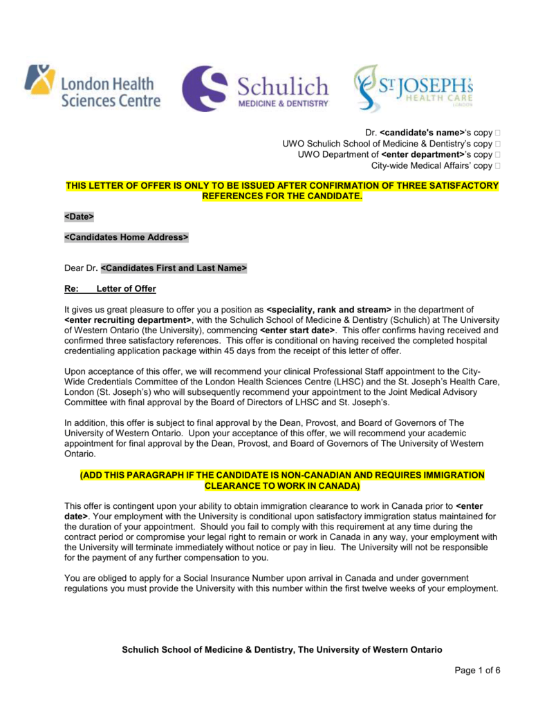 Schulich Medicine Dentistry And London Hospitals Joint Letter Of