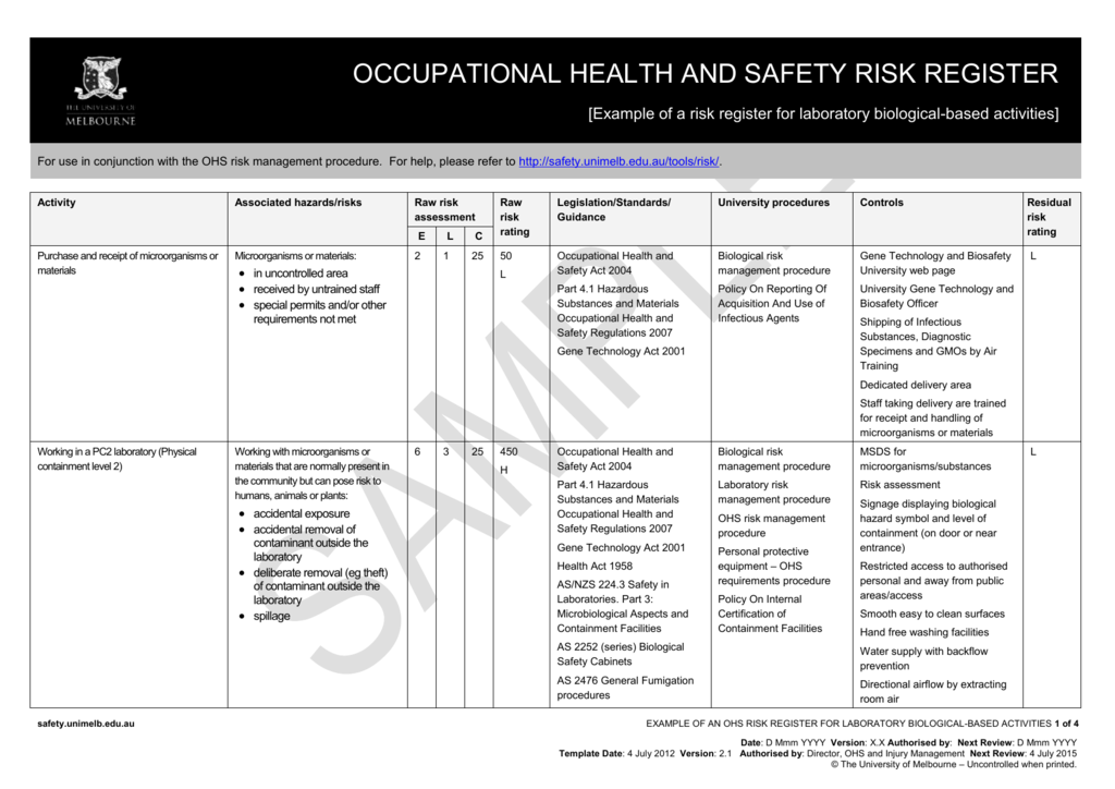 attractive ohs risk assessment template gift example resume ideas