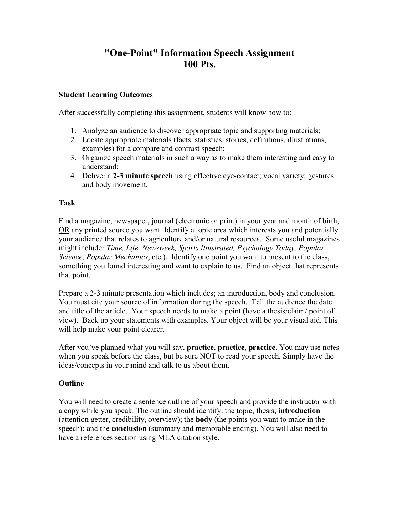 One Point Information Speech Assignment