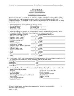 DRAFT DISCHARGE PLAN DOCUMENT