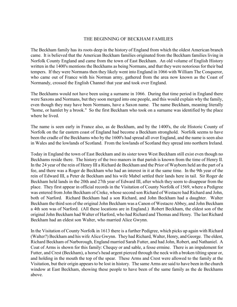 English Ancestory Beckham Genealogy Index