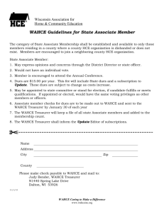 WAHCE Guidelines for State Associate Member