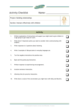 Activity checklist