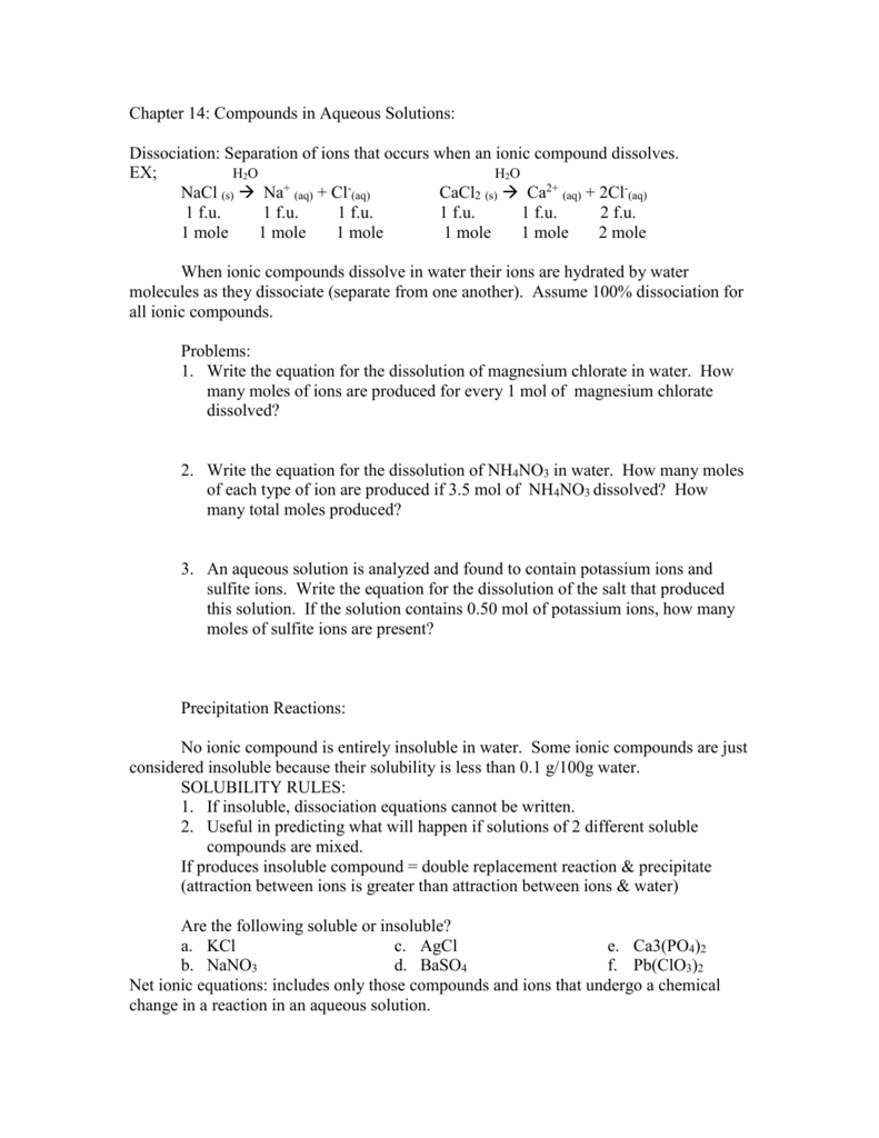 worksheet Reactions In Aqueous Solutions Worksheet chapter 14 compounds in aqueous solutions mvhs