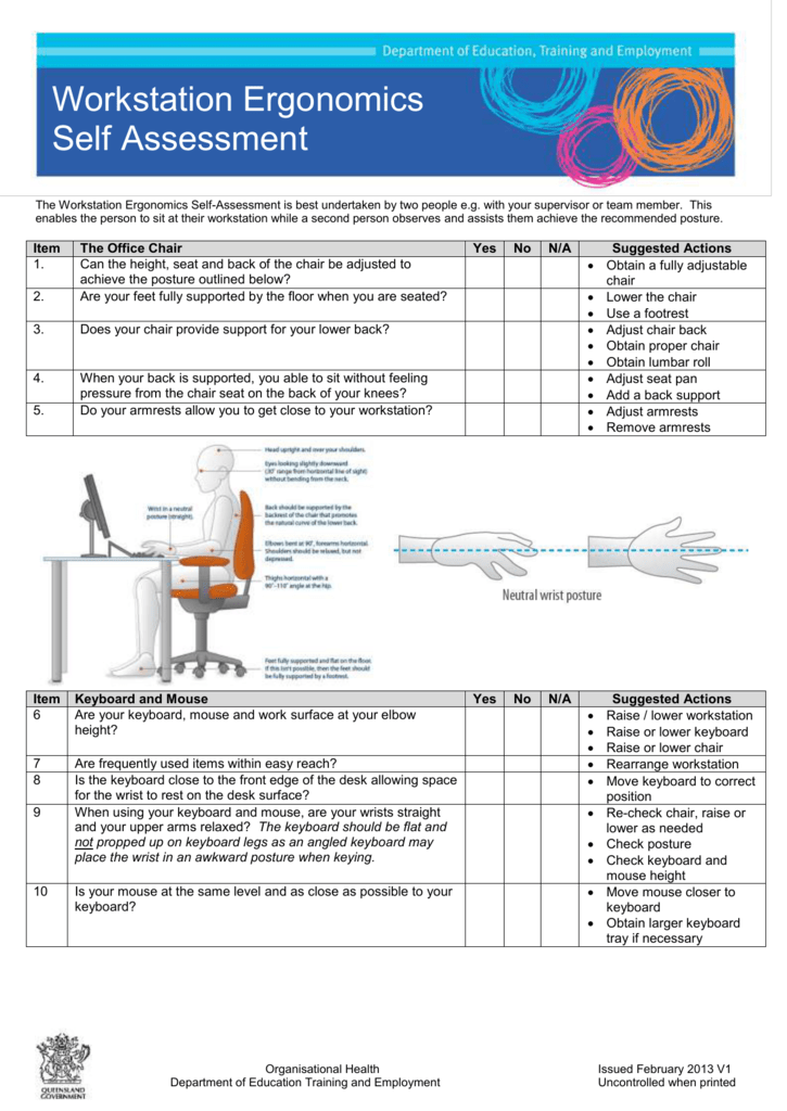 Workstation assessment template gallery template design for Ergonomic assessment template