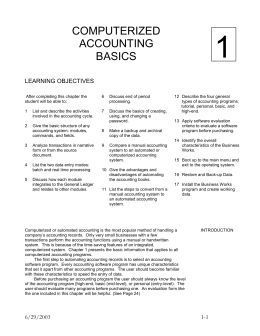 Chapter One - Computerized Accounting Basics