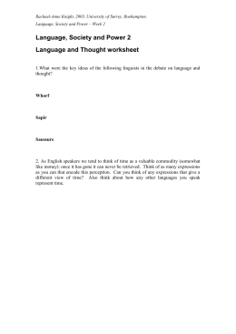 Language and Thought worksheet