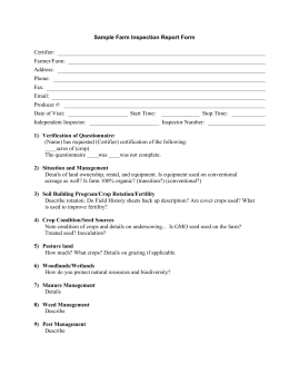 Sample Farm Inspection Report Form