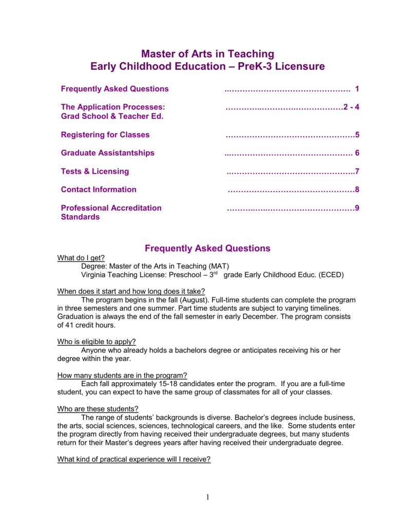The Jmu Early Childhood Education