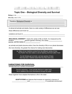 UNIT ONE – BIOLOGICAL DIVERSITY