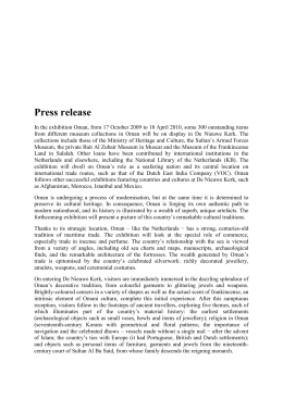 Press release In the exhibition Oman, from 17 October 2009 to 18