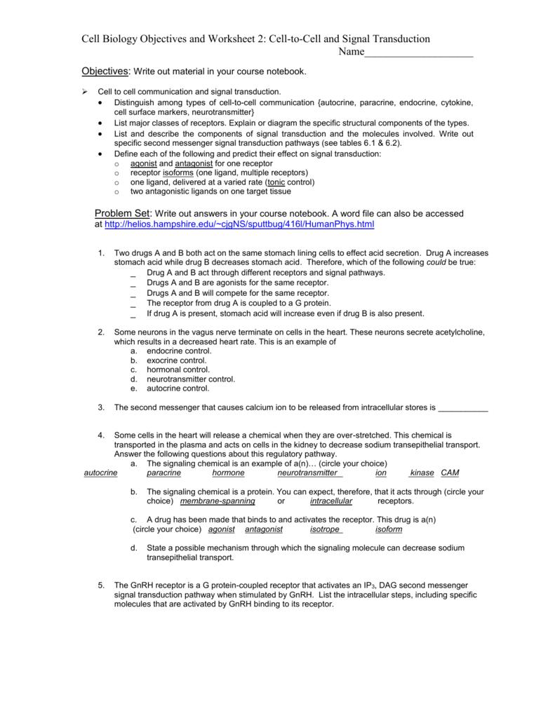 Cell Communication Worksheet