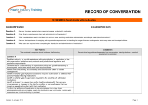 record of conversation - Health Industry Training