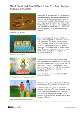 About Diwali - Text, Images and Comprehension (Reading Level A)