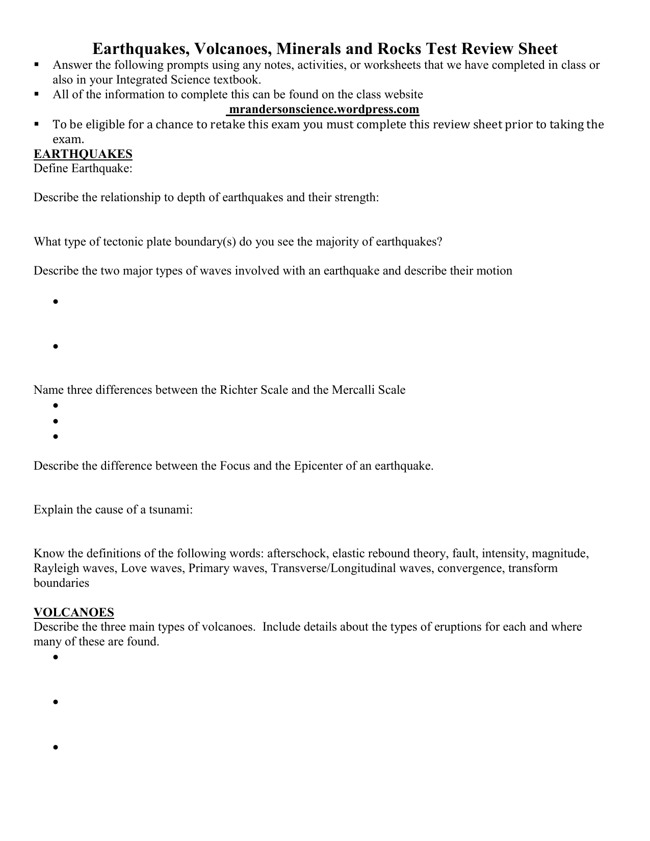 Earthquakes Volcanoes Minerals And Rocks Test Review Sheet