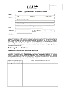 Appendix 2: Proposed Reaccreditation Form