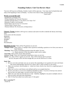 Founding Fathers: Unit Test Review Sheet
