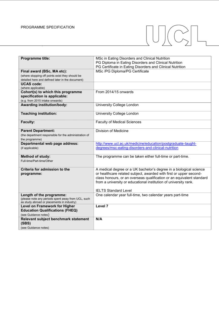 MSc/Postgraduate Diploma/Certificate in Eating Disorders and