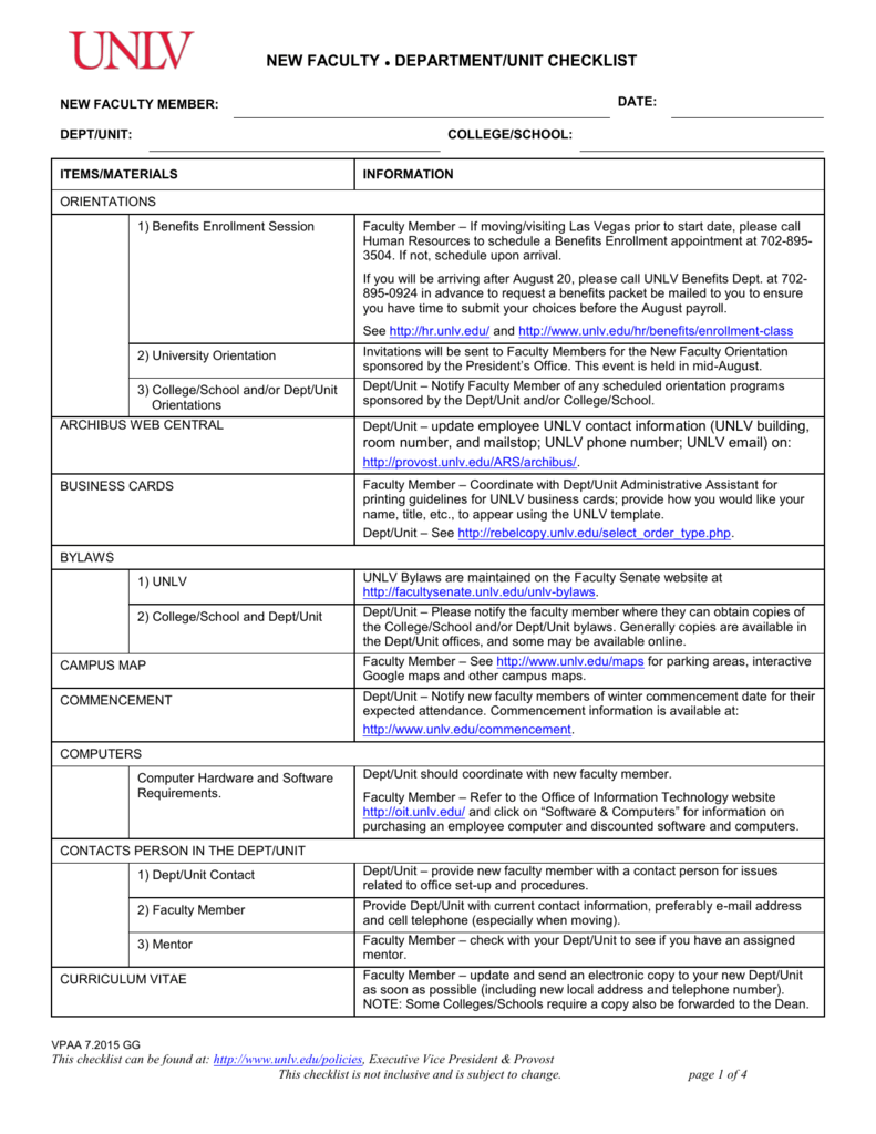 Unlv Campus Map Pdf.New Faculty Department Unit Checklist