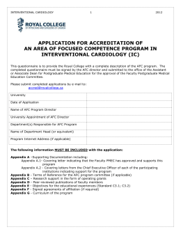 Application for Accreditation of an AFC Program in