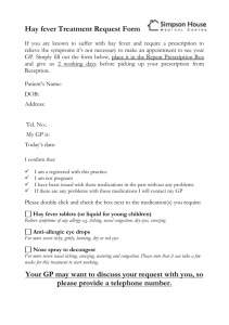 Hay fever Treatment Request Form