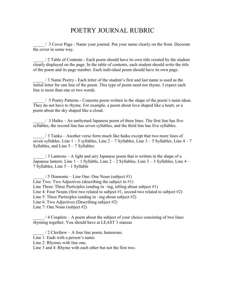 poetry journal st fabian catholic school