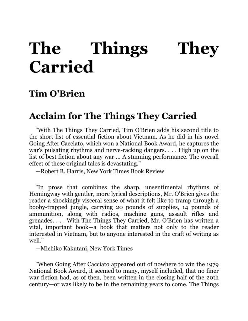 Tim O`Brien - The Things They Carried