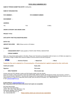 Entry Form for PATA Gold Awards 2008