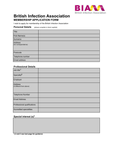 Membership application form - British Infection Association