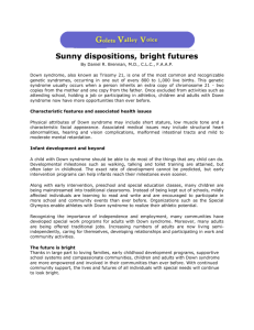 Sunny Dispositions, Bright Futures (Down Syndrome)