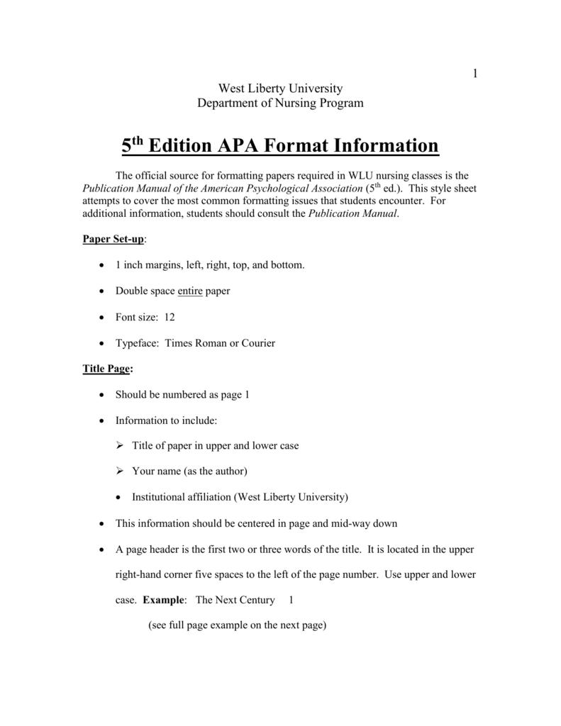 5th edition apa format information
