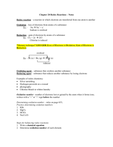 Chapter 20 Redox Reactions – Notes
