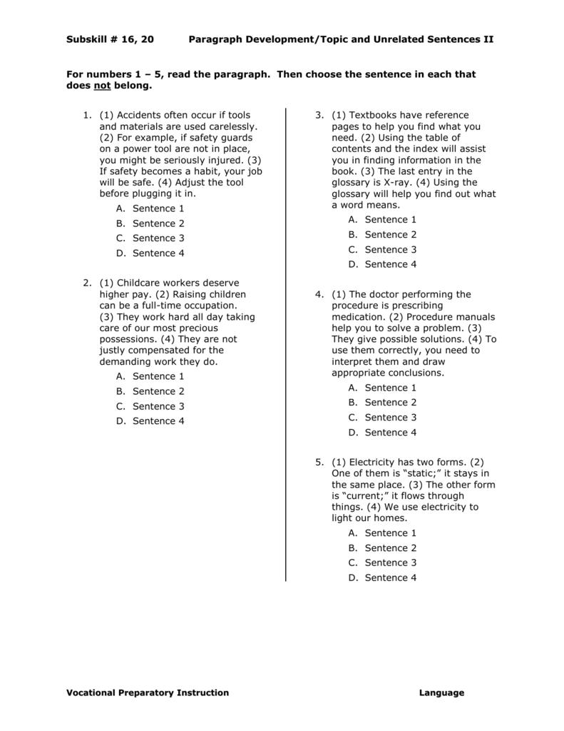 Topic and Unrelated Sentences II