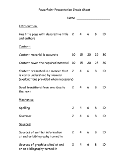 Grade Sheet for PowerPoint Projects ()