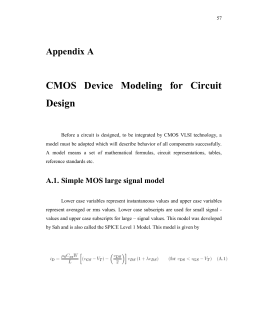 CMOS Device Modelling for Circuit Design