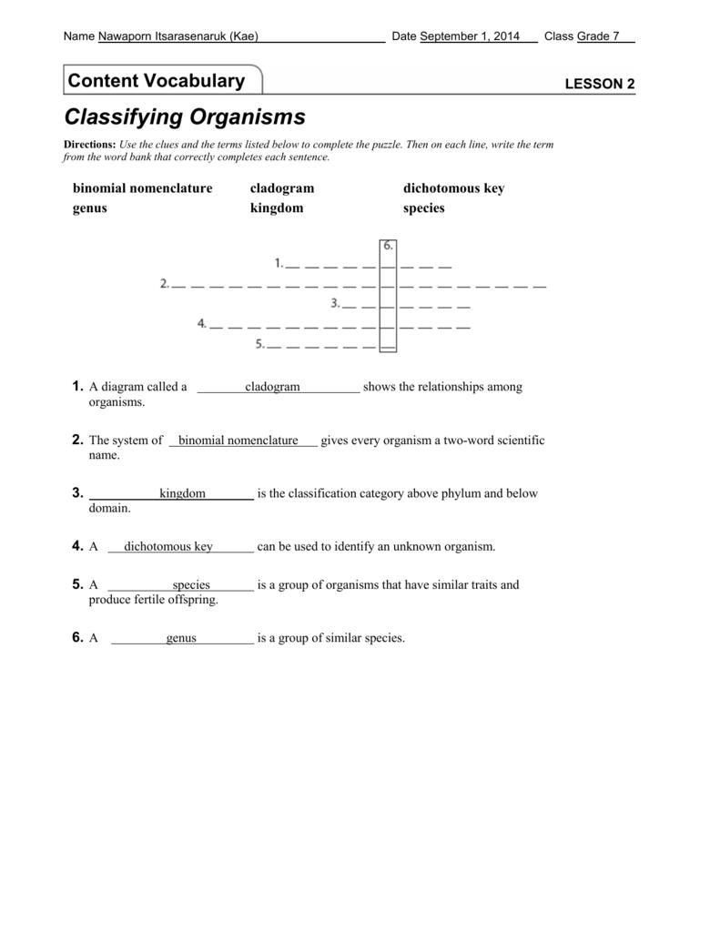 worksheet Classifying Organisms Worksheet lesson 2 classifying organisms