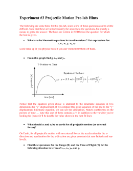 Projectile Motion PreLab Hints