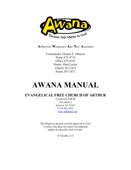 Awana Manual - Arthur Evangelical Free Church